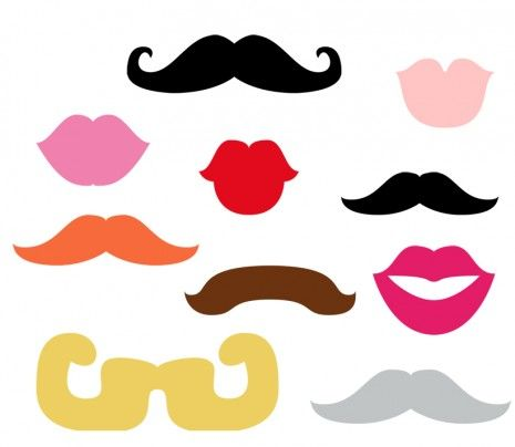 free printable photo props mustache and kissy lips