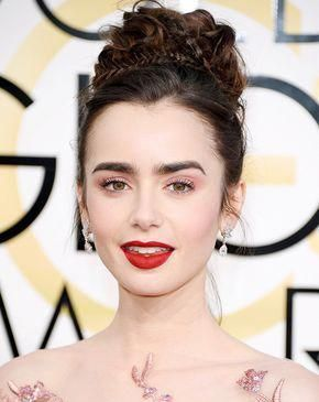 Lily Collins Wears Red Lipstick Pink Eyeshadow And A Princess