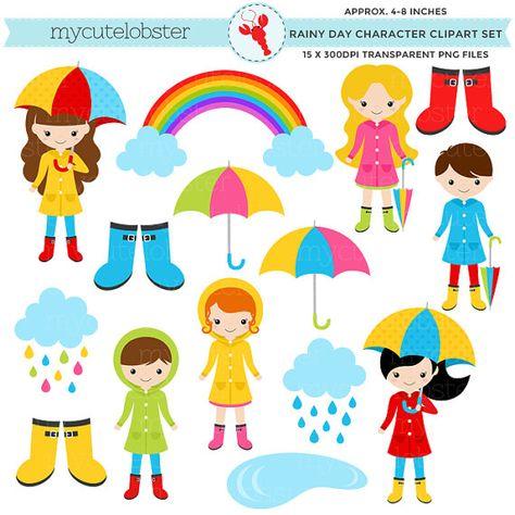Rainy Day Character Clipart Set Clip Art Set Of Rain Etsy Scrapbook Cover Clip Art Art Set