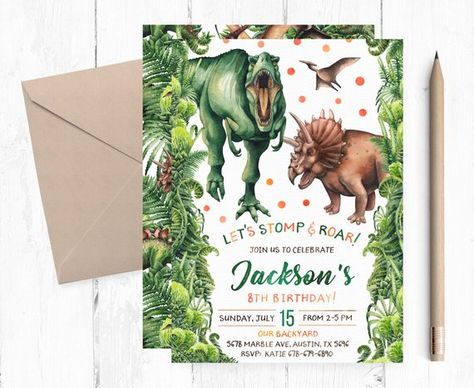 T Rex And Triceratops Invitation Dinosaurs Invitations