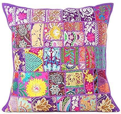 Indian Bedding Sofa Cushion Cover Bohemian Cotton Pillow Case Bed Pillows Throw