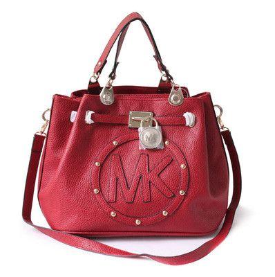 Top Quality Brand New Michael Kors Hamilton Satchel Handbag Red Color Great Design Of