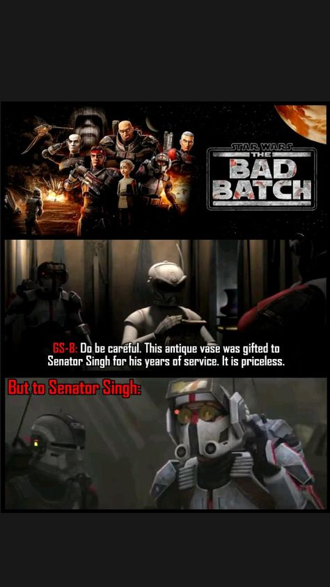 GS-8 thought Vase was important. But Avi Singh, it's trash. from Star Wars The Bad Batch