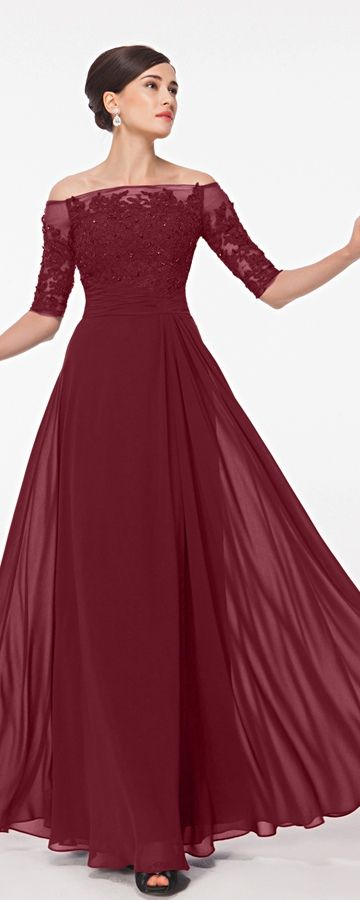 Burgundy Modest Lace Prom Dresses with Sleeves | Lace prom gown ...