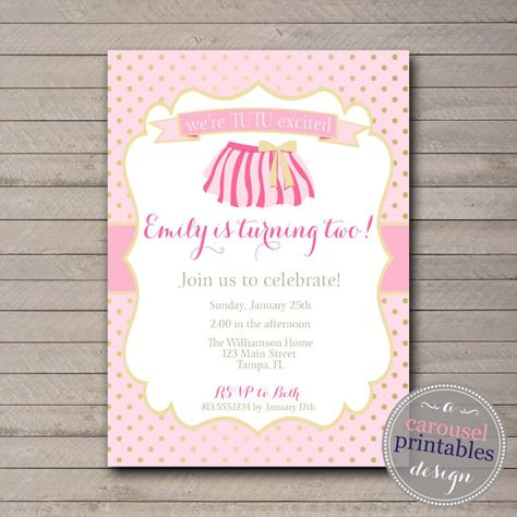 Tutu Birthday Invitation Invite Pink By CarouselPrintables