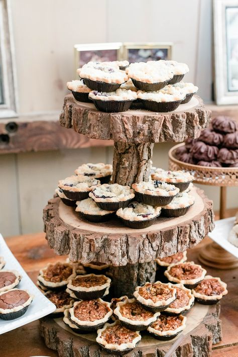 Rustic Chic Country Barn Wedding Reception and Dessert Bar at the Farm Bakery and Events in Quakertown, PA by Jess Palatucci Photography - Rustic Barn Wedding Venue in Bucks County, Pennsylvania - feat. Wedding Pie Table, Rustic Wedding Desserts, Dessert Bar Wedding, Rustic Wedding Cupcakes, Wedding Pies, Mini Wedding Cakes, Fall Dessert Recipes, Mini Pies, Dessert Buffet