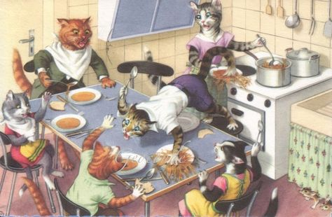 Image result for vintage illustration of cat fight