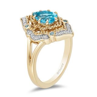 Enchanting Women Engagement Blue Topaz Crystal Gold Filled Pendant Necklace