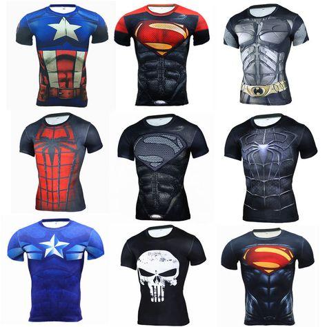Superhero Long Sleeve Compression Tee Shirt Mens Sports Jogging GYM Tops T-shirt