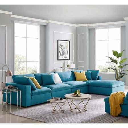 Modern Contemporary Urban Design Living Room Lounge Club Lobby Sectional Sofa Set Fabric Aqua Blue Walmart Com Living Room Turquoise Aqua Living Room Sofa Set