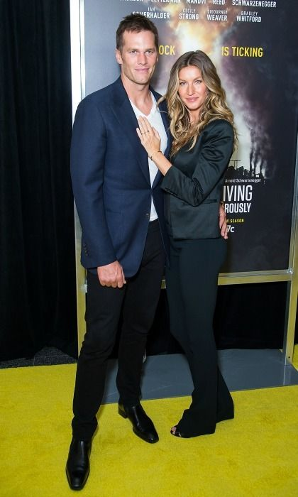 Gisele Bundchen rocked an all black power suit as she made her first red carpet appearance with husband Tom Brady since 2014, during the season two premiere of National Geographic's Years of Living Dangerously in NYC.
