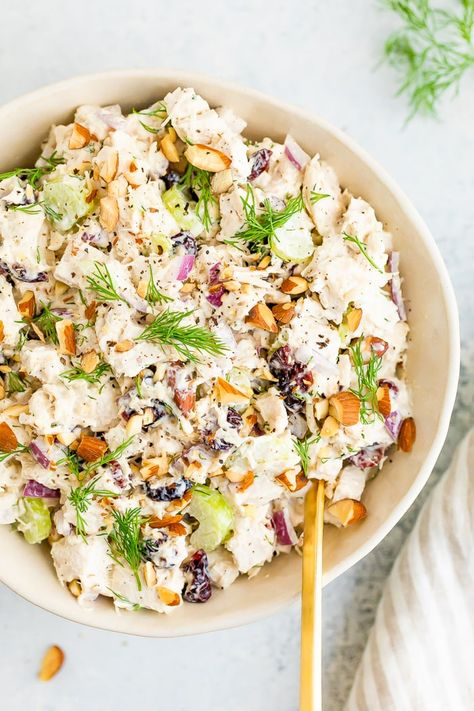 This lightened-up turkey salad with celery, onion, dried cranberries and almonds is the perfect salad to make with leftover turkey. #eatingbirdfood #chickensalad #turkey #turkeysalad #thanksgiving #holidays #leftovers