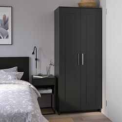 Brimnes Wardrobe With 2 Doors Black 78x190 Cm Ikea 78x190 Black Brimnes Doors Ikea Wardr In 2020 Ikea Schrank Kleiderschrank 2 Turig Brimnes Kleiderschrank