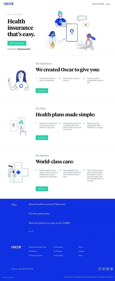Oscar Health Insurance That S Easy Landing Page Design Web