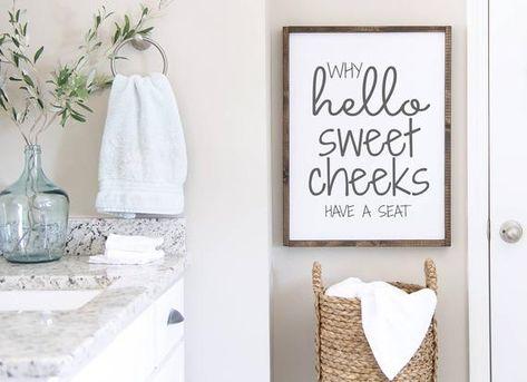 Bathroom Signs, Hello sweet cheeks, Funny signs, Farmhouse bathroom, Bathroom decor, Bathroom humor, Restroom Sign, Guest bath, Kids Bath