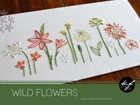Wild Flowers hand embroidery pattern, a modern embroidery pattern PDF