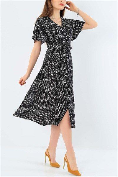 39 95 Tl Kalp Desenli Siyah Dokuma Viskon Elbise 29335b Modamizbir 2020 Elbise Elbise Modelleri Giyim
