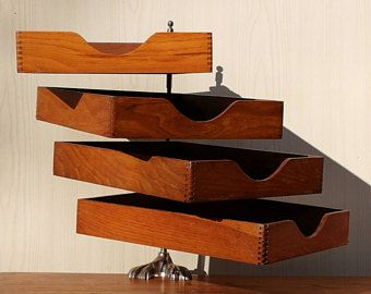 Superbe Banette De Bureau En Bois Vintage Organiseur Art