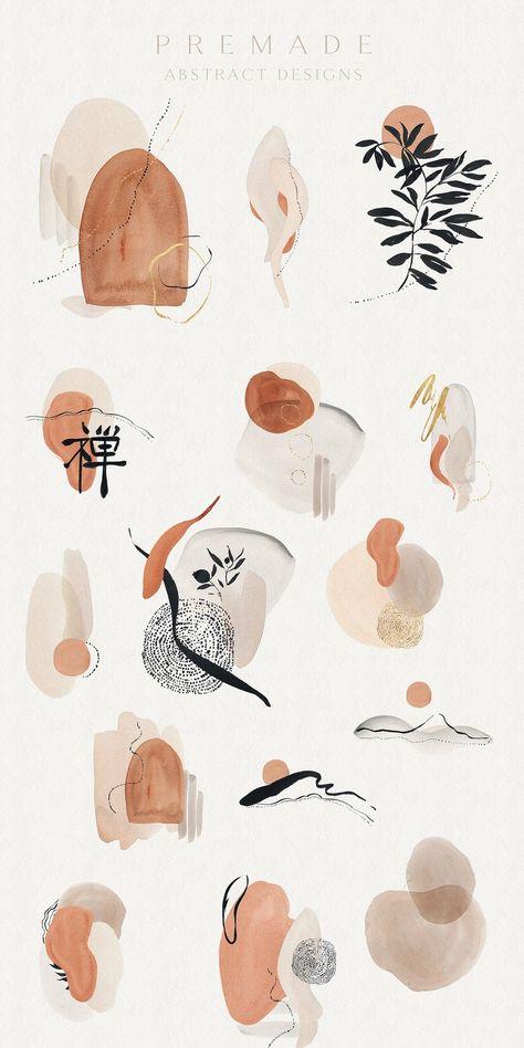 Wabi Sabi Watercolor Kanji - Abstract Shapes - Watercolor Shapes - Nude Tones - Ink Kanji - Minimalist - Abstract Clipart - Abstract Frames
