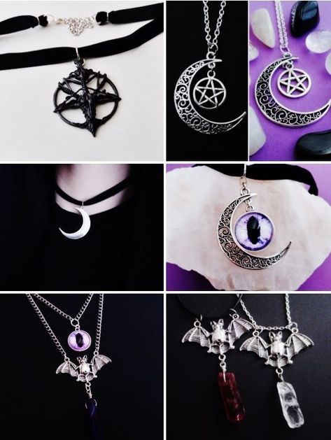 Moon Necklace Red Blue Gothic Steampunk Wicca Pagan Fantasy Sky Silver Bronze