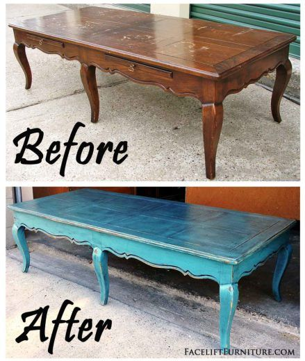 Curvy Coffee Table In Distressed Sea Blue Before After