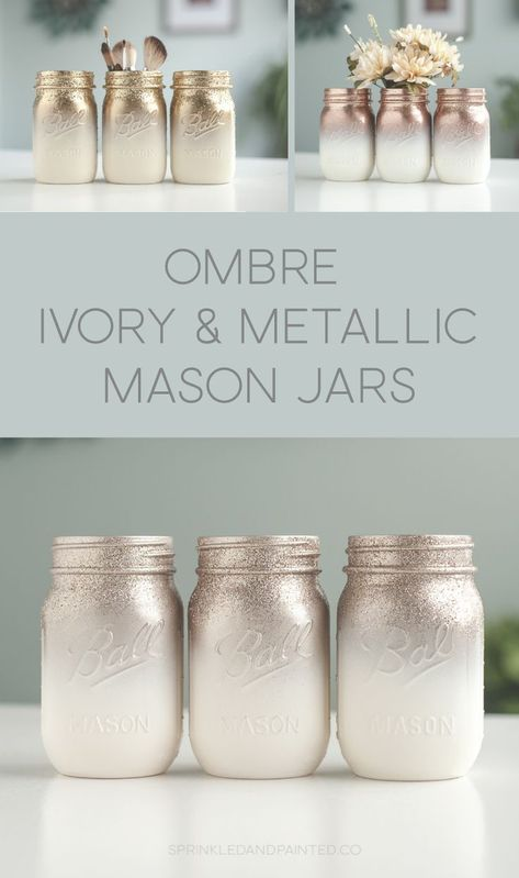 Metallic rose gold, gold, rose chrome and ivory mason jars ombre painted with a splash of glitter. diy mason jars Glitter & Painted Mason Jar Centerpieces & Home Decor by SprinkledandPainted Mason Jar Projects, Mason Jar Crafts, Mason Jar Diy, Crafts With Jars, Gifts With Mason Jars, Ideas With Mason Jars, Decorating With Mason Jars, Diy Christmas Mason Jars, Wedding Mason Jars