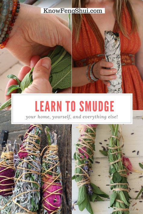 "The beauty of smudging is that it can be as simple and quick or as complex and elaborate as your heart desires. Once you know the basics and all the optional ""add-ons,"" you will feel more empowered to create your own rituals to fit any situation. Smudging Prayer, Sage Smudging, Homemade Generator, Herbal Magic, Feng Shui Tips, Healing Herbs, Healing Stones, Wiccan Spells, Smudge Sticks"