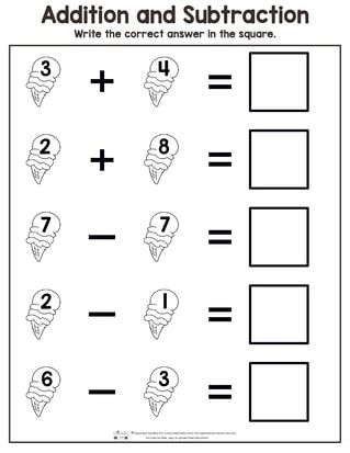 Summer Addition And Subtraction Worksheets Itsybitsyfun Com Kindergarten Subtraction Worksheets Subtraction Worksheets Kindergarten Math Worksheets Addition