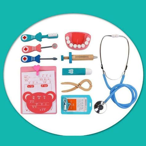 Kids Children Role Play Games Doctor Dentist Nurse Wooden Toy Set Medical Kit LI
