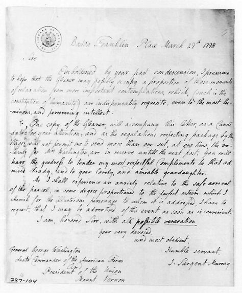 This is a letter written by Judith Sargent Murray to George - george washington resume