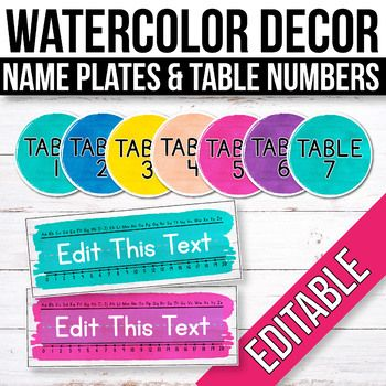 Free Editable Table Signs And Name Tags Watercolor Classroom