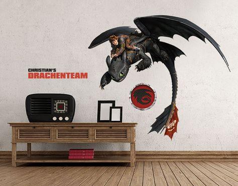 Wunschtext-Wandsticker Drachenteam Hicks und Ohnezahn Geschenke Geschenke für Weihnachten
