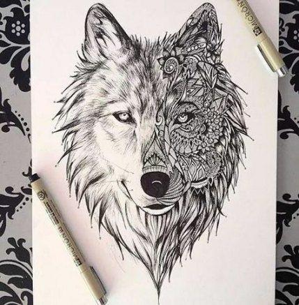 Best Tattoo Wolf Desing Spirit Animal Yin Yang Ideas Tattoo Wolf Tattoos Elephant Tattoos Geometric Wolf