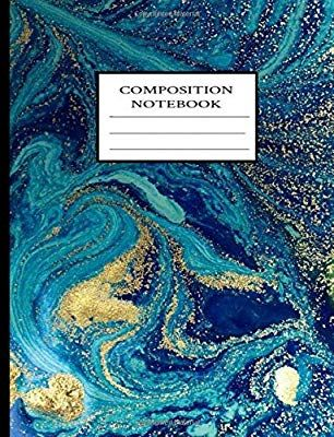 Composition Notebook: Blue Marble Gold Elements Swirls