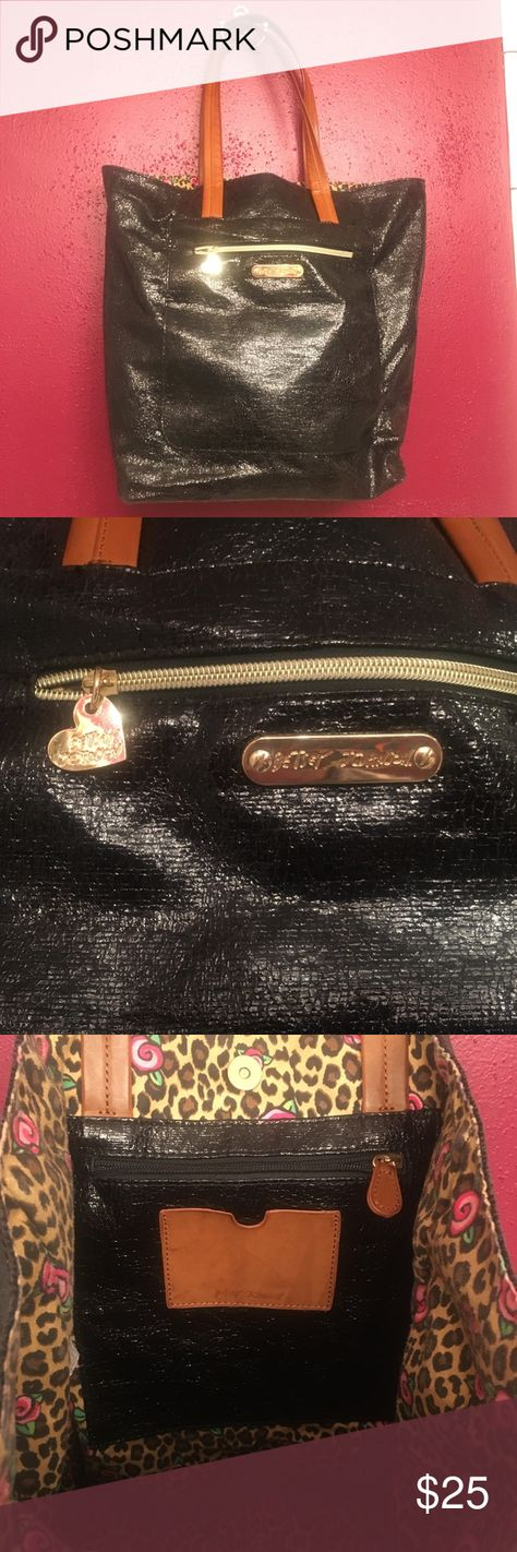 Betsey Johnson Metallic Tote Black Betsey Johnson Metallic tote - Good condition barely used. See pictures for sizing Betsey Johnson Bags Totes
