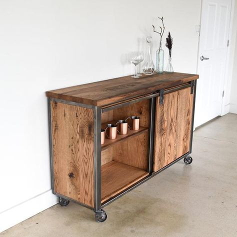 Industrial Sideboard Made From Reclaimed Wood Bar Cart Storage