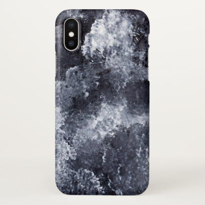 Modern Black White Acrylic Paint Brushstroke Ocean Iphone X Case