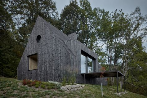 Mjölk Architekti updates cottage with burnt wood cladding and revamped interior