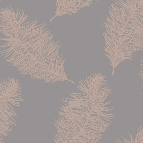 Crown Plume Foil Silver Wallpaper M1390 Feature Metallic Shimmer Feathers