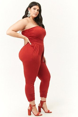 Plus Size Ruched Strapless Jumpsuit | Forever 21