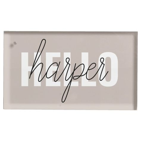 Modern Simple Brown Hello And You Name Place Card Holder - tap to personalize and get yours #PlaceCardHolder #minimalist #monogram #simple #fashion, #anniversarygift