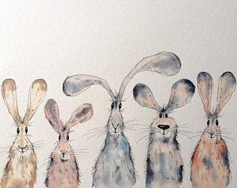 Characterful animal illustrations by HaresAndHerdwicks on Etsy