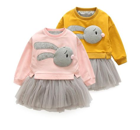 2Pcs//set kids girls cute rabbit cartoon t-shirt tops tutu dress outfits/'