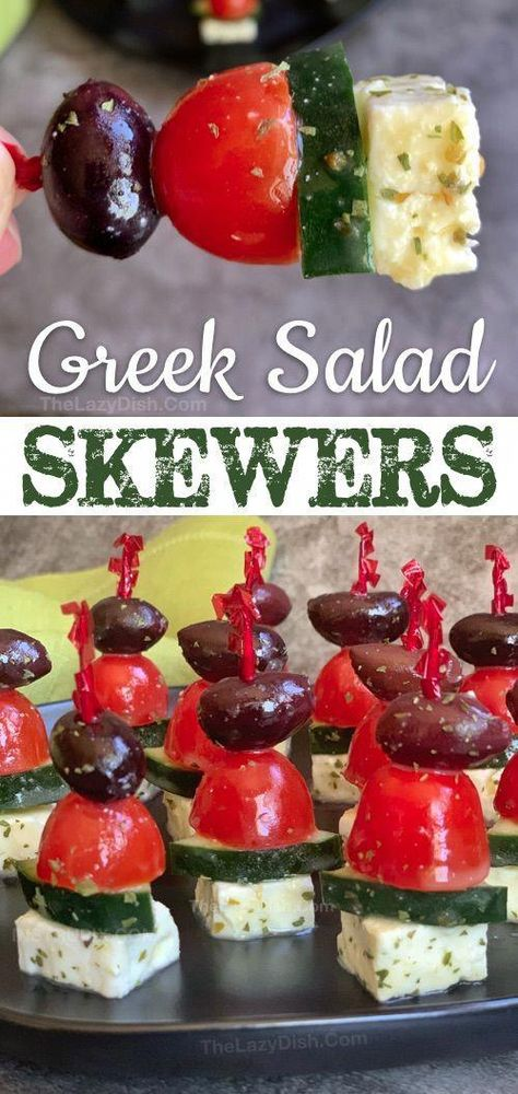 Greek Salad Skewers - A quick and easy make ahead cold party appetizer that is a. - Appetizers - Appetizers for party Greek Salad Skewers – A quick and easy make ahead cold party appetizer that is a… – Appetizer Cold Party Appetizers, Fingerfood Party, Gluten Free Appetizers, Quick And Easy Appetizers, Finger Food Appetizers, Easy Vegetarian Appetizers, Party Appetizer Recipes, Easy Finger Food, Cold Party Food