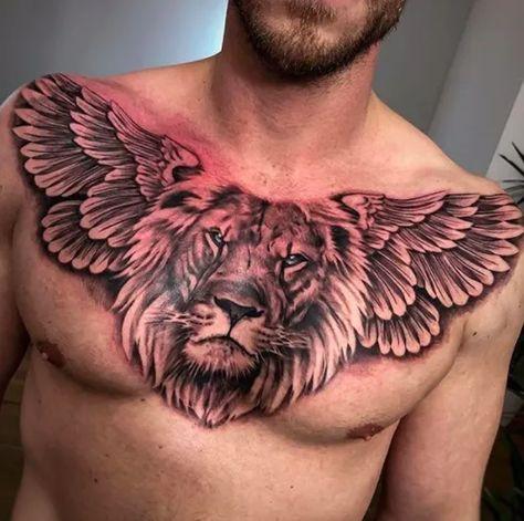 Lion Chest Tattoo, Lion Tattoo Sleeves, Cool Chest Tattoos, Chest Tattoos For Women, Tribal Tattoos For Men, Dope Tattoos, Best Sleeve Tattoos, Great Tattoos, Body Art Tattoos