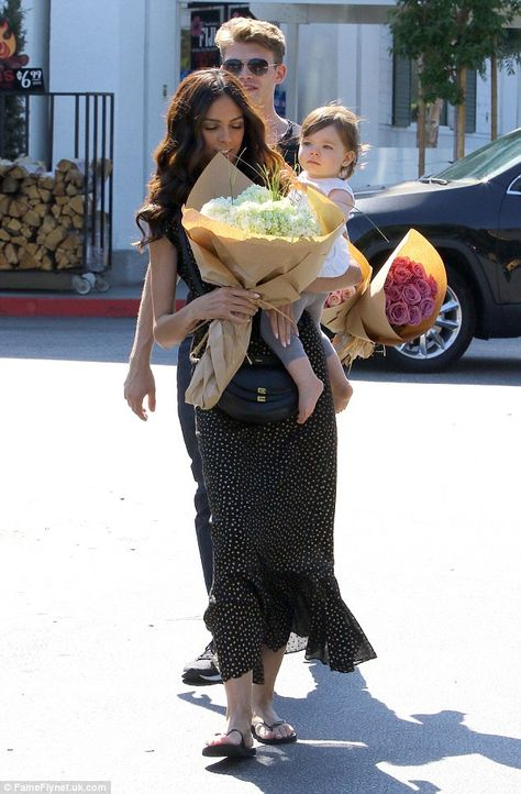 Terri Seymour picks out flowers with daughter Coco and toyboy beau