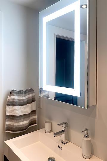 Lighted Led Bathroom Mirror Medicine Cabinet 24 In 2020 Medicine Cabinet Mirror Bathroom Mirror Led Mirror Bathroom