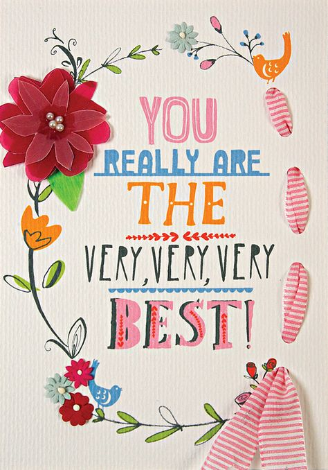 'Very Best' Wreath & Ribbon Thank You Card