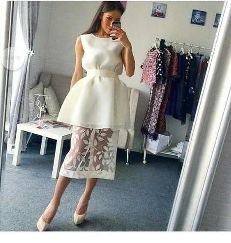 Nice white dress design with lace,homecoming