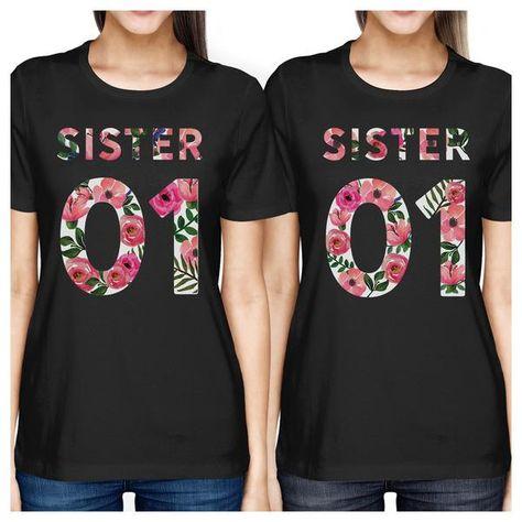 019d039a382b7d 365 Printing Sister 01 Womens Black Sister Matching T-Shirts Short Sleeve  Cotton